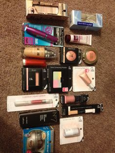 """I made a list of all the best drugstore makeup dupes and condensed it to what I needed . I got everything I need for full face makeup and plenty of different looks ( MORE than enough ) ... For a grand total of under 100 dollars - I usually pay 60.00 alone for 1 Smashbox """" halo hydrating powder """" ( which I LOVE ) but I needed to get the most for my money - mostly E.L.F products . I'm so excited !"""