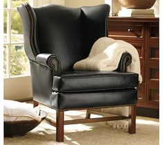Thatcher Leather Wingback Chair #potterybarn -- Desperately want in the red color, it's very similar to the wingback chair my grandparents bought when they moved into our family house.