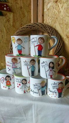 Hand Painted Mugs, Sharpie Crafts, Cup Design, Ceramic Painting, Arts And Crafts, Projects To Try, Gifts, Handmade, Inspiration