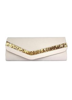 In Stock Stunning Off-White Satin Silk Evening Handbags /  Clutches With Sequins