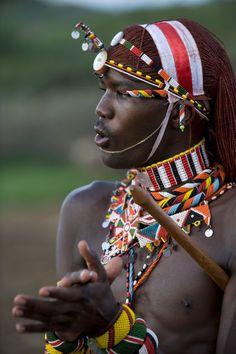 Africa | Samburu Warrior (Moran).  Ol Malo, Laikipia, Kenya | © John Warburton-Lee