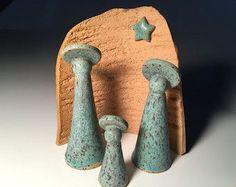 Set cerámica de Natividad Creche pesebre Navidad por Potterybydaina