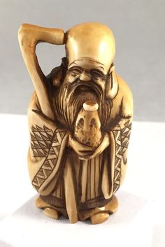 Antique JAPANESE Carved Old Man Immortal Netsuke Signed 1 Day Auction!