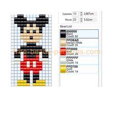 Disney character Mickey Mouse free perler beads pattern Hama beads Nabbi beads I. Bead Loom Designs, Weaving Designs, Bead Loom Patterns, Beading Patterns, Peyote Patterns, Diy Friendship Bracelets Patterns, Beaded Bracelet Patterns, Jewelry Patterns, Fuse Beads