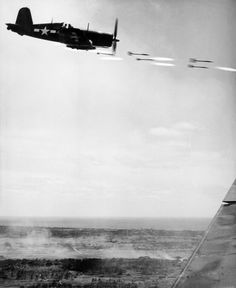Vought F4U Corsair Firing Rockets During Assault of Okinawa, WWII