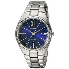 Seiko Ladies SNE876 Recraft Solar Silver Tone Dial Watch with a Date Window