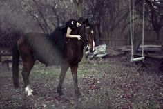 Goth Girl On Horse