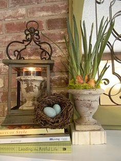 vase in lantern...love the lantern!
