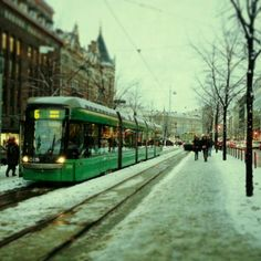 Trams in Helsinki, Finland. Slush, November
