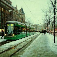 Trams in Helsinki, Finland. Slush, November