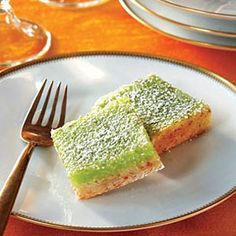 These #healthy, and visually stunning Lime-Coconut Bars will liven any menu. #MyPlate #Dessert