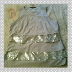 NWOT The Limited Sequin Top Light gray layered top with silver sequins. Never worn, all sequins are intact, no rips or stains. The Limited Tops Tank Tops