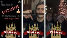 Universities using geofilters on snapchat -Boston College #hesm #casesmc #aismc