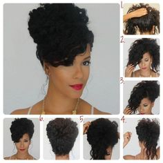 Natural Hair Tutorial: the bouffant tutorial. Perfect for my crazy curly hair Pelo Natural, Natural Curls, Diy Hairstyles, Wedding Hairstyles, Summer Hairstyles, Natural Updo Hairstyles, Gorgeous Hairstyles, Vintage Hairstyles, African Hairstyles