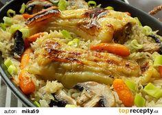 Plněné papriky pečené s rýži v jednom pekáčku recept - TopRecepty.cz Japchae, Detox, Food And Drink, Gluten Free, Stuffed Peppers, Treats, Chicken, Cooking, Ethnic Recipes