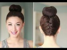 The upsidedown fishtail bun... front and back view. I say again it can be jazzed up! The video link is http://youtu.be/BtmwZ2-6uO4