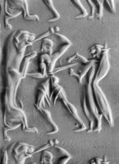 Image of a lion hunt, with support from a Minoan Genius. From a cylinder seal excavated at Kakovatos. Ancient Aliens, Ancient History, Lion Hunting, Bronze Age Civilization, Minoan Art, Mycenaean, Antique Coins, Art For Art Sake, Ancient Jewelry