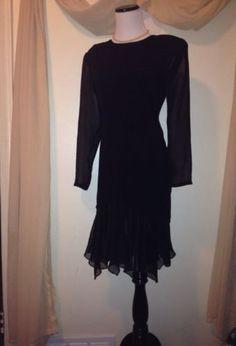 Little Black RETRO VINTAGE Hankerchief 1980's Dress By Phoebe Petites Size 12