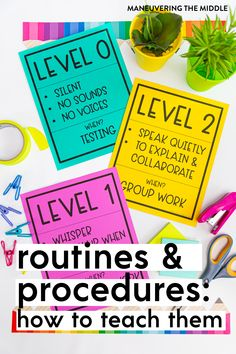 You might have the best routines, but if you don't teach them in a way students will remember, then they will not save your time, energy, and sanity. Find out HOW to teach routines and procedures to benefit your classroom. | maneuveringthemiddle.com Voice Levels, First Year Teaching, Reap The Benefits, Parent Communication, Group Work, Save Yourself, Helpful Hints, Routine, Encouragement