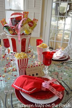 Party Table for Movie Night. Love this idea!