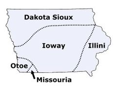 Map of Iowa tribes in the past