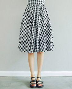 $9.83 Checked Vintage High Waist Wide Hem Skirt For Women