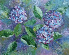 """""""Hortensia's"""" 40x50 cm. Prachtige kleuren! En de vorm van enkele bladeren een beetje opgekruld geeft extra speelsheid, ook qua lichtval. De kunstenaar is mij niet bekend. Wie dit wel weet? Graag reactie ..."""