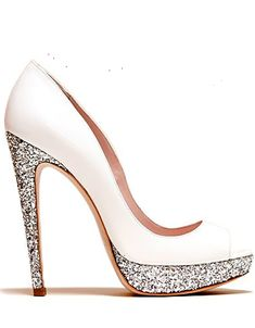 white and silver glitter wedding heels--ooh sparkly!