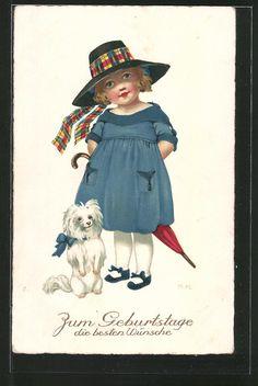 Künstler-AK Marie Flatscher (M.FL.): Mädchen mit Hut und ihrem Hund, Geburtstag…