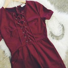 "⚡️SALE⚡️Wine Faux Suede Lace Up Dress Brand new. Approx length 31"" Dresses Mini"