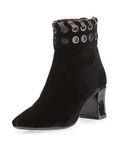 Studded Velvet Whipstitch Bootie, Black by Fendi at Neiman Marcus.