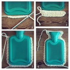 Coco Rose Diaries: Hot Water Bottle Cover Tutorial- I must make uk terms! Crochet Diy, Crochet Motifs, Crochet Home Decor, Love Crochet, Crochet Gifts, Learn To Crochet, Beautiful Crochet, Crochet Patterns, Coco Rose Diaries