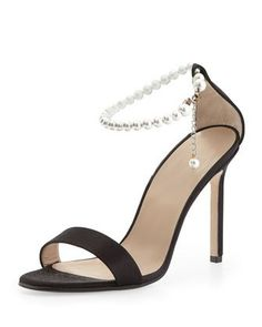 Chaos Pearly Ankle-Wrap Sandal, Black by Manolo Blahnik at Neiman Marcus.