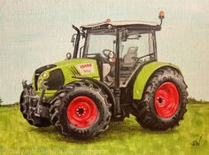 Claas Atos Tractor - Acrylic on Canvas Board
