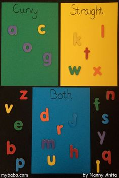 A letter sorting activity for pre-schoolers. Sorting Activities, Daily Activities, Educational Activities, Letter Sorting, Phonics Games, Letter Sounds, Kids Learning, Fun Things, Preschool