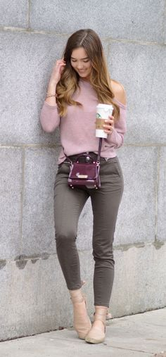 A guide to this spring's best flat espadrilles!! So feminine and comfortable, and they go with everything from pants to dresses! These skinny army green pants are from Dynamite and super high waisted, and this off shoulder pink sweater is only $12 from Shein! This Zac Zac Posen bag is sold out in purple but still available in black, and the prettiest! All details on Marie's Bazaar blog #fashion #outfit #springoutfit #style #outfitidead #espadrilles #flats #shoes #offshoulder