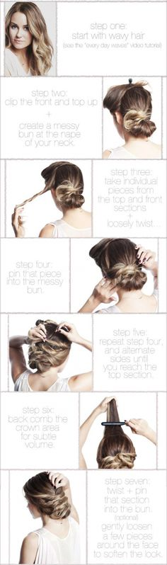 Cute and easy hairstyle. One elastic and a handful of bobby pins, and you are done! Love it!