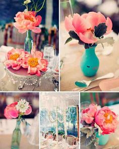Coral and aqua wedding