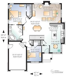 This european design floor plan is 1355 sq ft and has 2 bedrooms and has 1 bathrooms. Square House Plans, Small House Floor Plans, House Plans One Story, Four Square Homes, Building A Cabin, Master Bedroom Bathroom, House Map, Cottage Plan, House Layouts