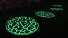 Solar Stepping Stones, I think I would like to try this with glow in the dark paint - Gardening For You