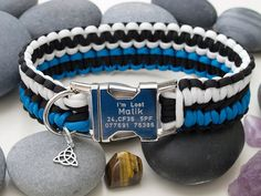 Black, White and Blue Paracord Dog Collar with Metal Buckle - Very Strong, Wide and Handmade