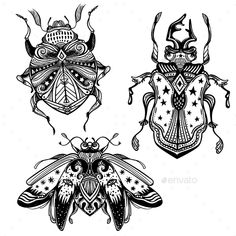 Magic Beetles and Bugs Set. Fantasy Ornate Insects #Bugs, #Beetles, #Magic, #Set