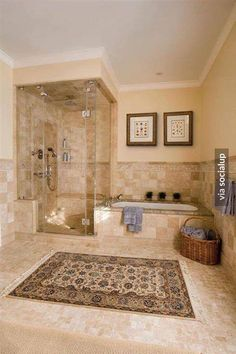 Impressive wall candle sconces in Bathroom Traditional with Thermasol Steam Shower next to Separate Shower And Tub alongside Neutral Tile and Soaking Tub And Shower - Our Home Decor Master Bathroom Shower, Shower Tub, Bathroom Ideas, Master Bathrooms, Bathroom Organization, Shower Rooms, Neutral Bathroom, Small Bathrooms, Bath Ideas