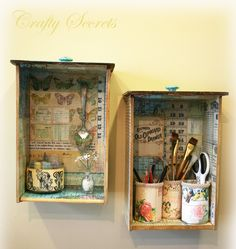 Crafty Secrets Vintage Paper Crafts, stamping Ideas: Decoupage drawers, Vicki's Giveaway, School Papers, Fabulous Samples & More!very creative. Decoupage Drawers, Old Drawers, Dresser Drawers, Vintage Drawers, Small Drawers, Decoupage Ideas, Cabinet Drawers, Dressers, Vintage Paper Crafts