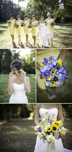 yellow and purple. love the wildflower bouquet
