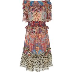 Roberto Cavalli Paisley-Print Georgette Dress ($2,390) ❤ liked on Polyvore featuring dresses, floral, red off the shoulder dress, red retro dress, off the shoulder dress, retro dresses and smocked dresses