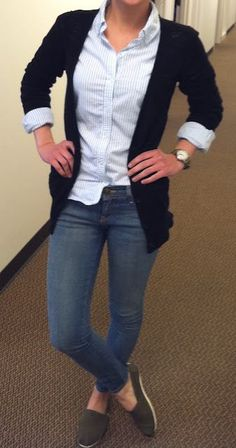 { Teacher Style } (Casual Friday) Jeans, white button up blouse, navy blue waist length 3/4 sleeve blazer, TOMS!