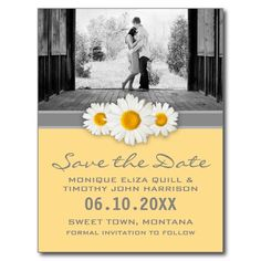 Daisy Ribbon - Yellow Gray & White Save the Date Postcard  This sweet daisy and ribbon design features a gray ribbon, and three sweet daisies. Fresh, stylish, and bright, in this yellow, gray, and white theme.