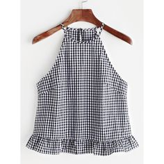 Gingham Buttoned Keyhole Back Frill Halter Top Shop Gingham Buttoned Keyhole Back Frill Halter Top online. SheIn offers Gingham Buttoned Keyhole Back Frill Halter Top & more to fit your fashionable needs. Halter Tops, Cami Tops, Mode Top, Summer Tank Tops, Diy Clothes, Gingham, Blouses For Women, Blouse Designs, Cute Outfits