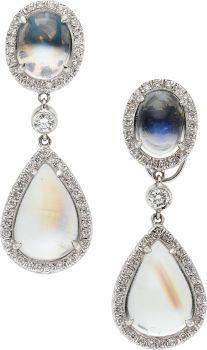 Moonstone, Diamond, Platinum Earrings